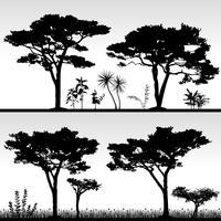 Paysage de silhouette de grand arbre. vecteur