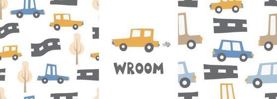 motifs pour enfants sertis de voitures. voitures transport route impression numérique vecteur