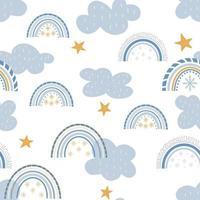 motif mignon arc-en-ciel d'hiver. papier numérique. impression enfantine créative. vecteur