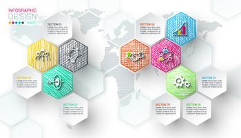 Étiquettes de filet hexagone affaires forme barre infographique vecteur