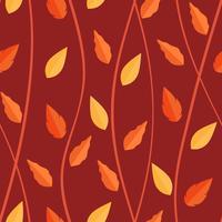 Motif feuilles orange sur fond transparent vecteur