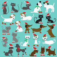 Clipart chats et chiens de Noël vecteur