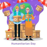 aide de l'humanité pour la journée humanitaire vecteur