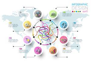 Les étiquettes de couleur des affaires doodle forment la barre de cercles infographiques.