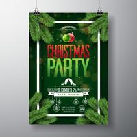 Vector design flyer fête de Noël avec des éléments de typographie de vacances
