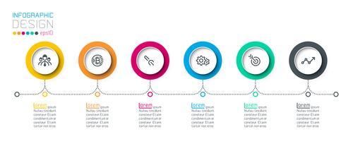 Les étiquettes de cercle d'affaires forment la barre de groupes infographiques. vecteur