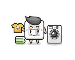 caricature de mascotte d'interrupteur d'éclairage avec machine à laver vecteur