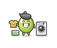 caricature de mascotte d'olive avec machine à laver vecteur
