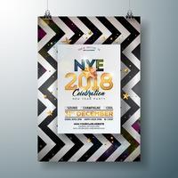Modèle d'Affiche de fête du nouvel an 2018 vecteur