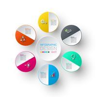 Six cercles avec infographie icône affaires. vecteur