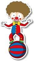 modèle d'autocollant avec personnage de dessin animé de clown heureux isolé vecteur