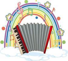 accordéon avec symboles de mélodie sur arc-en-ciel vecteur