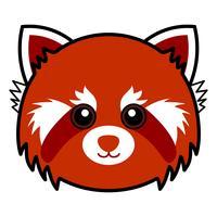 Vecteur de panda rouge mignon.