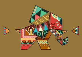 Vecteur d'éléphant de forme géométrique couleur bohème