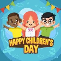 trois enfants mignons heureux pour la journée des enfants vecteur