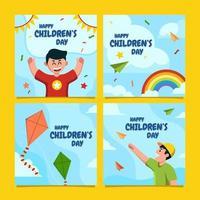 modèle de médias sociaux pour la journée des enfants vecteur
