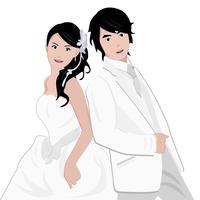 Le mariage d'un couple vecteur