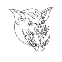 dessin au trait continu vue de face de tête de sanglier en colère vecteur