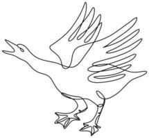 oie en colère sur le point d'attaquer le dessin au trait continu vue latérale vecteur