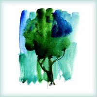aquarelle arbre vert