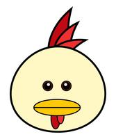 Visage de poulet mignon.