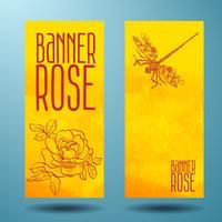 Bannières avec rose et libellule en griffonnage