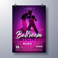 Illustration de flyer fête de soirée dans la salle de bal