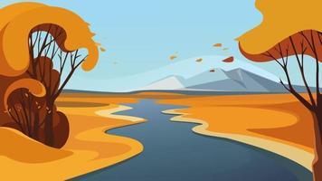 rivière passant au-dessus de l'horizon. beaux paysages d'automne. vecteur