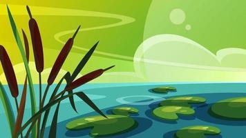 paysage avec des roseaux sur le lac. beaux paysages naturels. vecteur