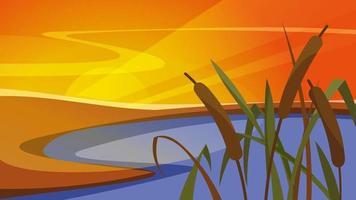 paysage avec des roseaux au coucher du soleil en orientation verticale. vecteur