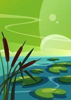 paysage avec des roseaux sur le lac en orientation verticale. vecteur