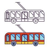 Icône plate de trolleybus classique, icône de la ligne. Phares ronds.
