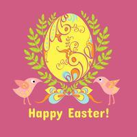 Carte de Pâques avec des oeufs, des fleurs et des oiseaux