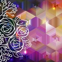Rose et fond abstrait vecteur coloré
