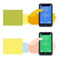 Design plat moderne d'homme tenant un smartphone avec navigation gps mobile