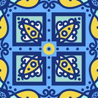 Azulejos portugais traditionnels d'ornement bleu. Modèle sans couture oriental vecteur