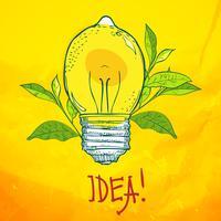 lampe en forme de citron. Idée.