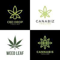 logo de feuille de cannabis. graphique vectoriel d'illustrations de chanvre de mauvaises herbes.