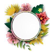 Papier art de cercle de cadre avec feuille colorée de nature vert et flower.vector