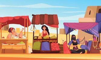fond de dessin animé de souk oriental vecteur