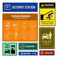 Panneaux d'information sur les parkings.