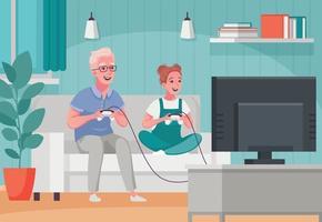grand-père jouant au jeu vidéo avec sa petite-fille vecteur