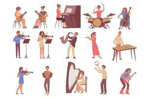 ensemble d'instruments de musique d'apprentissage vecteur
