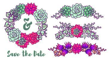 Couronne de mariage vintage de plantes succulentes pour cartes de voeux