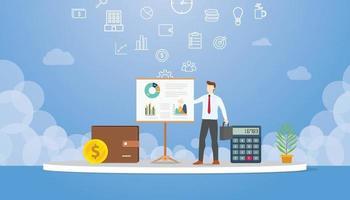concept de présentation d'entreprise avec l'homme présente un graphique et un graphique vecteur