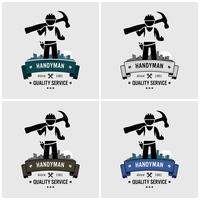 Création de logo de bricoleur professionnel. vecteur