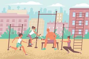 composition de terrain de sport urbain vecteur