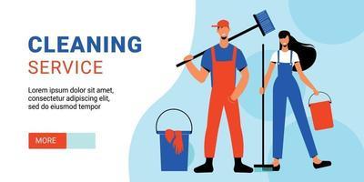 bannière horizontale de service de nettoyage vecteur