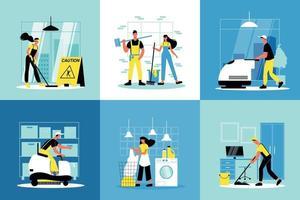 concept de conception de service de nettoyage vecteur