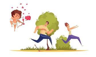 composition de la Saint-Valentin de chasse de cupidon vecteur